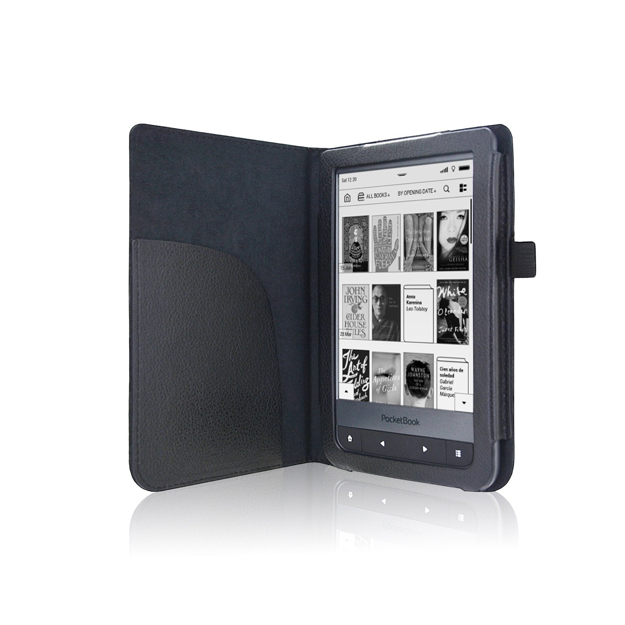 Luxe Zwarte Leren Hoes Pocketbook Touch Hd Cover Case